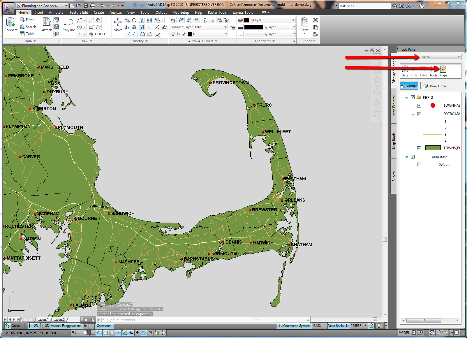 Being civil autocad map 3d 2013 new feature multiple maps and then i made a second more detailed map to make the second map click the maps button new in 2013 then select new and give it a name then create the new sciox Images
